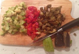 Chop your baked vegetable (zucchini, fresh red pepper,eggplant or whatever you like.
